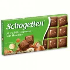 Schogetten Milk Chocolate with Hazelnuts Альпийский молочный шоколад с фундуком, 100 г