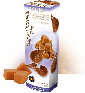 Шоколадные чипсы Belgian Chocolate Thins Caramel Sea Salt 80гр