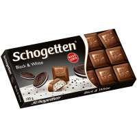 Schogetten Black&White Молочный шоколад с начинкой из ванильного крема и кусочками печенья с какао, 100 г