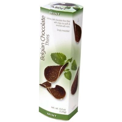 Шоколадные чипсы Belgian Chocolate Thins Mint 80гр