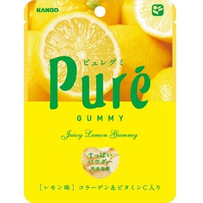 Kanro Pure жевательный мармелад, Лимон 56 гр