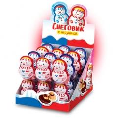 Снеговик с игрушкой, шоколадно-молочной пастой и печеньем 12 гр