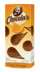 Шоколадные чипсы Chocola's Crispy Orange (Молочный Шоколад с Ароматом Апельсина) 80гр