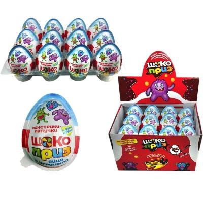 Яйцо ШОКОПРИЗ Монстрики-липучки с игрушкой, шоколадной пастой и печеньем 12 гр