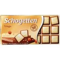 Schogetten Trilogia Белый шоколад с грильяжем и фундуком, с молочным шоколадом с джандуей и фундуком, 100 г