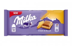 Milka Cream & Biscuit c прослойкой нежного крема и печеньем 100гр