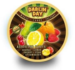 """Карамель леденцовая """"DARLIN DAY"""" ассорти со вкусом апельсина, лимона,груши,вишни,клубники"""