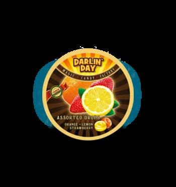 """Карамель леденцовая """"DARLIN DAY"""" ассорти со вкусом лимона, апельсина, клубники (180 грамм)"""