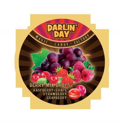 """Карамель леденцовая """"DARLIN DAY"""" BERRY MIX  со вкусом: малины,винограда,клубники,клюквы 180 гр"""