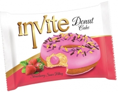 Пончик DONAT INVITE (клубничная начинка) 40 гр