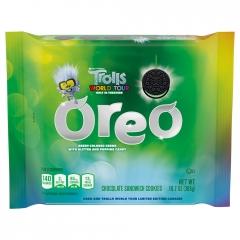 Oreo Trolls World Tour: Green Glitter Creme & Popping Candy Cookies 303g