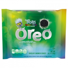 Oreo Trolls World Tour: Green Glitter Creme & Popping Candy Cookies 303g