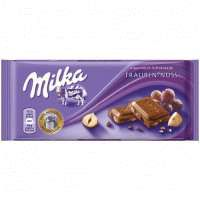 Milka Trauben-Nuss Альпийский молочный шоколад с фундуком и изюмом 100г