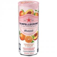 Газированный напиток San Pellegrino Momenti Клементин Персик 330 мл