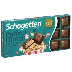 Молочный шоколад Schogetten PERFECT с воздушной кукурузой и карамелью 100гр