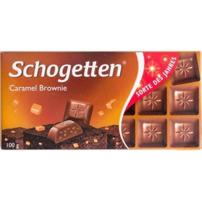 Schogetten Caramel Brownie Молочный шоколад с начинкой из крема брауни, печенья с какао и карамелью, 100 г