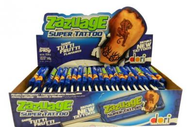 Жев. конфета Zazuage Tutti Frutti Super Tattoo 10,8 гр